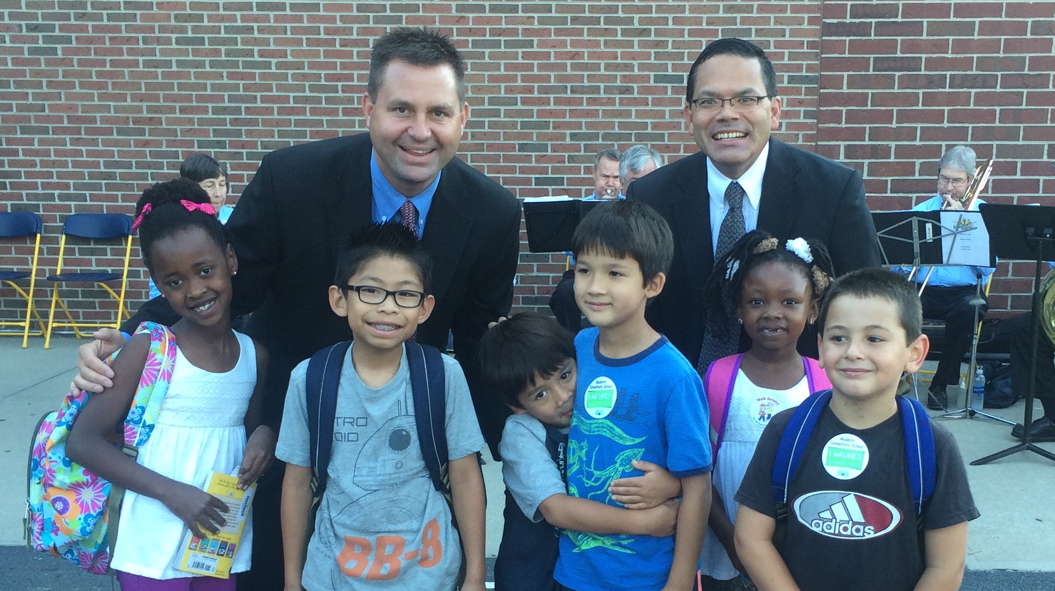 Mr. Weber and Mr. Matsudo with MES Students