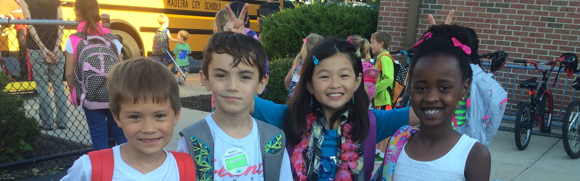 Students and their families & friends hiked and biked on the the district's Fall Walk to School Day, with music from The New Horizon Band greeting walkers at MES.