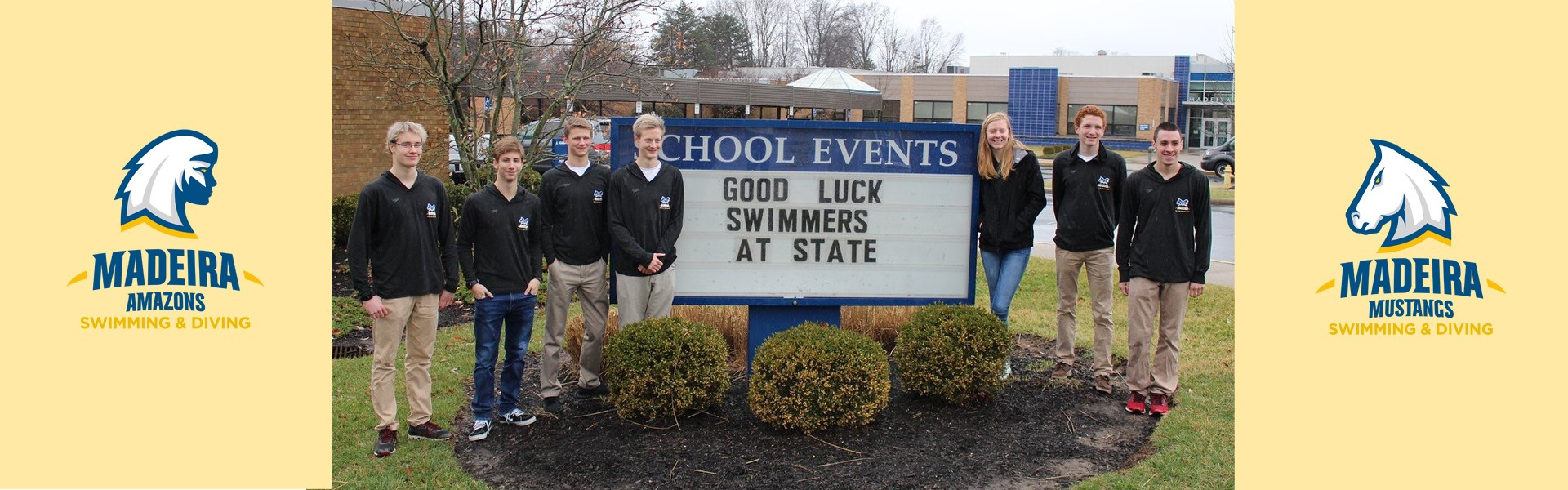 GOOD LUCK AT STATE SWIM FINALS Luke Dobson, Armen Krikorian, Nathan Quante, David Stevenson, Emma Fortman, Logan Kaising, and Chet Dobson!